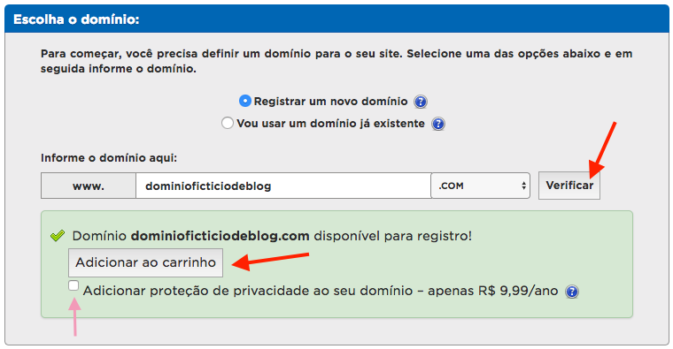 Como criar um blog profissional - preencha o domínio, clique em Verificar e, em caso do seu domínio estar disponível, clique em Adicionar ao carrinho